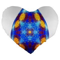 Easter Eggs Egg Blue Yellow Large 19  Premium Flano Heart Shape Cushions by Nexatart