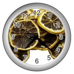 Lemon Dried Fruit Orange Isolated Wall Clocks (silver)  by Nexatart