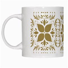 Pattern Gold Floral Texture Design White Mugs by Nexatart