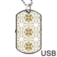 Pattern Gold Floral Texture Design Dog Tag Usb Flash (one Side) by Nexatart