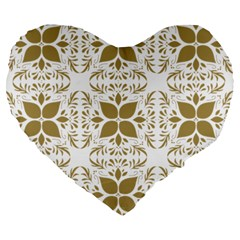 Pattern Gold Floral Texture Design Large 19  Premium Heart Shape Cushions by Nexatart
