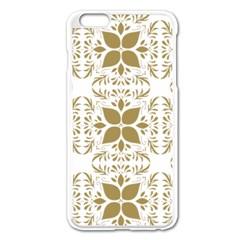 Pattern Gold Floral Texture Design Apple Iphone 6 Plus/6s Plus Enamel White Case by Nexatart