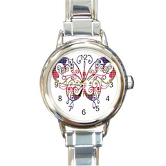 Butterfly Nature Abstract Beautiful Round Italian Charm Watch by Nexatart