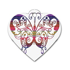 Butterfly Nature Abstract Beautiful Dog Tag Heart (two Sides) by Nexatart