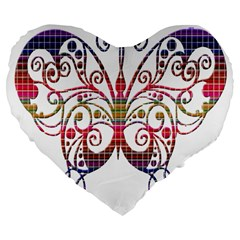 Butterfly Nature Abstract Beautiful Large 19  Premium Flano Heart Shape Cushions by Nexatart