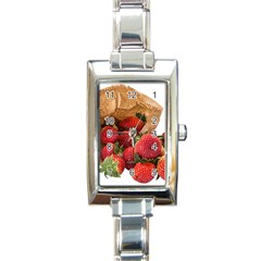 Strawberries Fruit Food Delicious Rectangle Italian Charm Watch by Nexatart