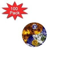 Design Yin Yang Balance Sun Earth 1  Mini Buttons (100 Pack)  by Nexatart