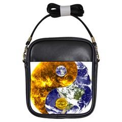 Design Yin Yang Balance Sun Earth Girls Sling Bags by Nexatart