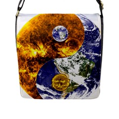Design Yin Yang Balance Sun Earth Flap Messenger Bag (l)  by Nexatart