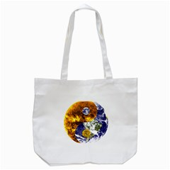 Design Yin Yang Balance Sun Earth Tote Bag (white) by Nexatart