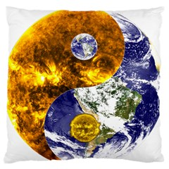 Design Yin Yang Balance Sun Earth Large Flano Cushion Case (two Sides) by Nexatart