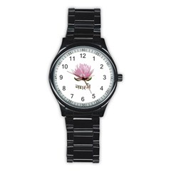 Namaste   Lotus Stainless Steel Round Watch by Valentinaart