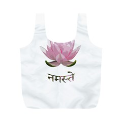 Namaste   Lotus Full Print Recycle Bags (m)  by Valentinaart