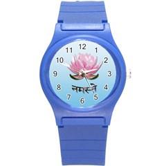 Namaste   Lotus Round Plastic Sport Watch (s) by Valentinaart