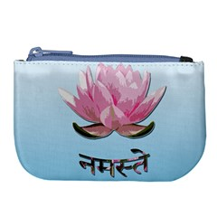 Namaste   Lotus Large Coin Purse by Valentinaart