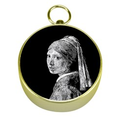 The Girl With The Pearl Earring Gold Compasses by Valentinaart