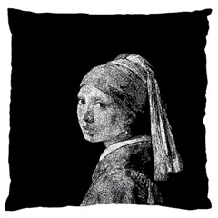 The Girl With The Pearl Earring Large Flano Cushion Case (two Sides) by Valentinaart