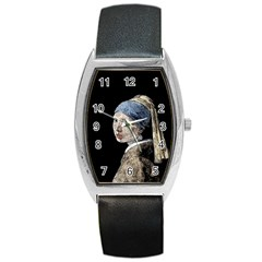 The Girl With The Pearl Earring Barrel Style Metal Watch by Valentinaart