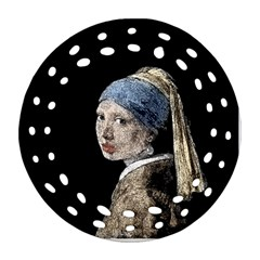 The Girl With The Pearl Earring Ornament (round Filigree) by Valentinaart