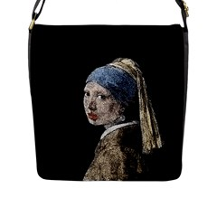 The Girl With The Pearl Earring Flap Messenger Bag (l)  by Valentinaart