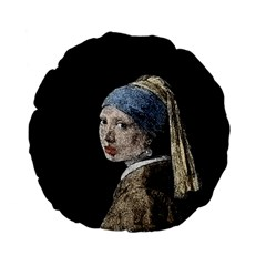 The Girl With The Pearl Earring Standard 15  Premium Flano Round Cushions by Valentinaart