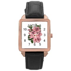 Orchid Rose Gold Leather Watch  by Valentinaart