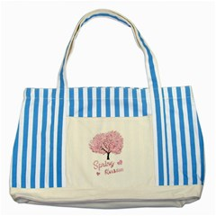 Spring Blossom  Striped Blue Tote Bag by Valentinaart