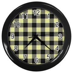 Plaid Pattern Wall Clocks (black) by ValentinaDesign