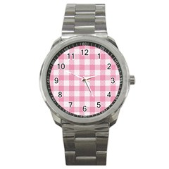 Plaid Pattern Sport Metal Watch by ValentinaDesign