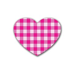 Plaid Pattern Heart Coaster (4 Pack)  by ValentinaDesign