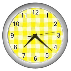 Plaid Pattern Wall Clocks (silver)  by ValentinaDesign