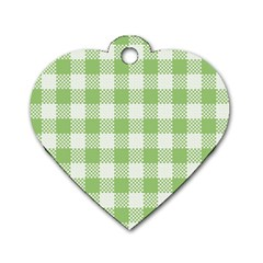 Plaid Pattern Dog Tag Heart (one Side) by ValentinaDesign