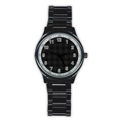 Plaid Pattern Stainless Steel Round Watch by ValentinaDesign