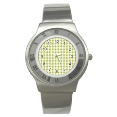 Plaid Pattern Stainless Steel Watch by ValentinaDesign