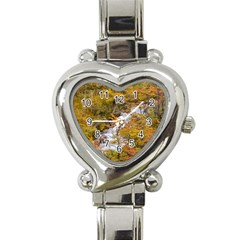 Colored Forest Landscape Scene, Patagonia   Argentina Heart Italian Charm Watch by dflcprints