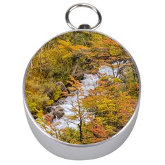 Colored Forest Landscape Scene, Patagonia   Argentina Silver Compasses by dflcprints