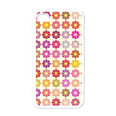 Multicolored Floral Pattern Apple Iphone 4 Case (white) by linceazul
