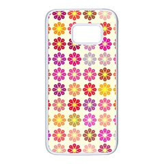 Multicolored Floral Pattern Samsung Galaxy S7 White Seamless Case