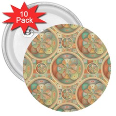 Complex Geometric Pattern 3  Buttons (10 Pack)  by linceazul