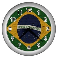 Vintage Flag   Brasil Wall Clocks (silver)  by ValentinaDesign