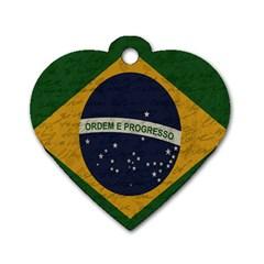Vintage Flag   Brasil Dog Tag Heart (one Side) by ValentinaDesign