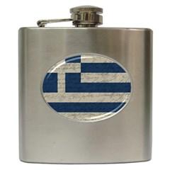 Vintage Flag   Greece Hip Flask (6 Oz) by ValentinaDesign