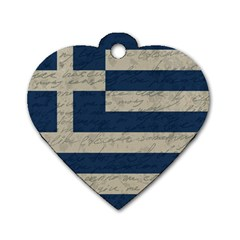 Vintage Flag   Greece Dog Tag Heart (one Side) by ValentinaDesign