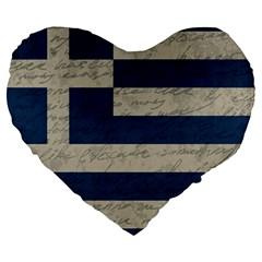 Vintage Flag   Greece Large 19  Premium Heart Shape Cushions by ValentinaDesign