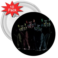 Cats 3  Buttons (10 Pack)  by Valentinaart
