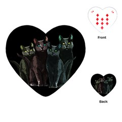 Cats Playing Cards (heart)  by Valentinaart