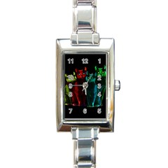 Cats Rectangle Italian Charm Watch by Valentinaart