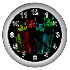 Cats Wall Clocks (silver)  by Valentinaart