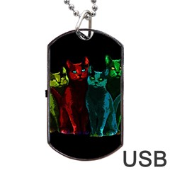 Cats Dog Tag Usb Flash (one Side) by Valentinaart