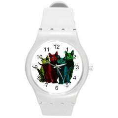 Cats Round Plastic Sport Watch (m) by Valentinaart